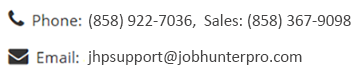 Job Hunter Pro Contact Info